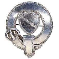 Scottish Victorian Shield and Garter Silver Brooch Pin