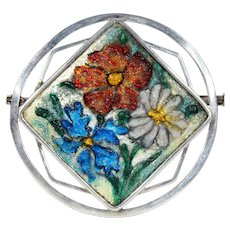 Antique French Enamel Limoges Silver Brooch Pin