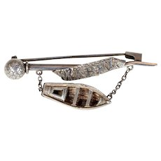 Victorian Silver Rowboat Brooch Pin 'Mabel'