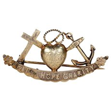 Victorian Faith, Hope & Charity Brooch Pin Silver Gilt
