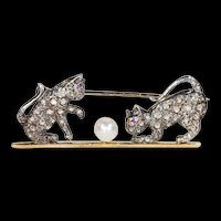 Victorian Diamond Ruby Pearl Playing Kittens Brooch 15k Gold Silver Set Cat