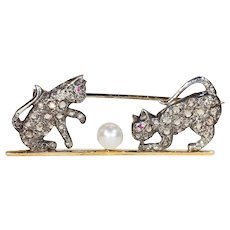 Victorian Diamond Ruby Pearl Playing Kittens Brooch 15k Gold Silver Set