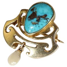 Murrle Bennet and Co. Art Nouveau Turquoise Gold Brooch Pin Pearl Drop