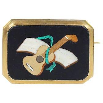 Victorian Pietra Dura Brooch Pin with Musical Motif Guitar