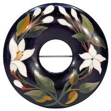 Victorian Pietra Dura Silver Wreath Brooch Pin