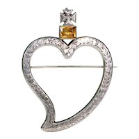 Georgian Silver Witches Heart Brooch Pin Citrine Maltese Cross