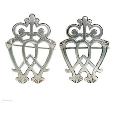 Pair Georgian Silver Luckenbooth Brooches Pins Scottish Wedding Jewelry