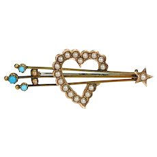 Victorian Halley's Comet Brooch Pin Witches Heart Pearl Turquoise