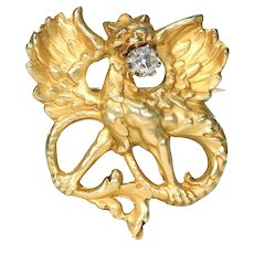 Antique French Griffin Brooch Diamond 18k Gold