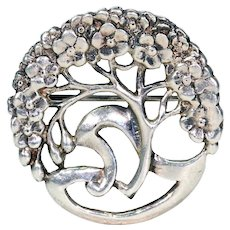 Antique Arts & Crafts Tree of Life Brooch Pin Silver