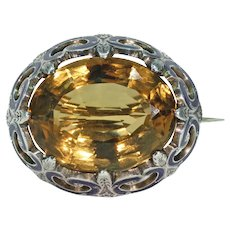 Victorian Caringorm Brooch Scottish Pin Citrine Enamel