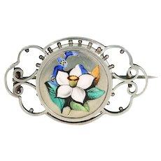 Victorian Silver Enamel Flowers Brooch Pin Daffodil