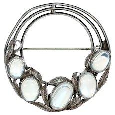 Antique Arts & Crafts Silver Moonstone Brooch Pin Bernard Instone