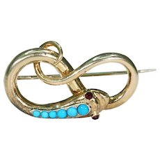 Antique Victorian Turquoise Garnet Gold Snake Brooch Pin