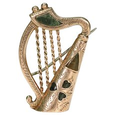 Antique Connemara Marble Gold Scottish Harp Brooch Pin