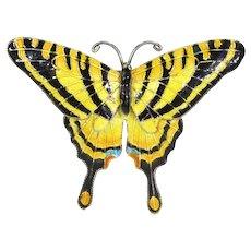 Vintage Sterling Silver Enamel Eastern Tiger Butterfly Brooch Pin