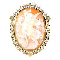 Victorian Cameo Brooch Pin 15k Gold Pearl Diamond Frame