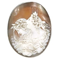 Victorian Night and Day Cameo Brooch Carved Shell Silver Pin
