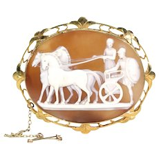 Victorian Cameo Brooch 18k Gold Persephone and Hades