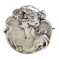 Antique Art Nouveau Silver Woman Brooch Pin