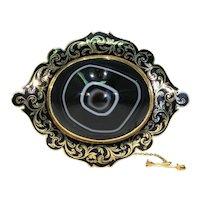 Large Victorian Memorial Brooch Pin Banded Agate Black Enamel 15k Gold