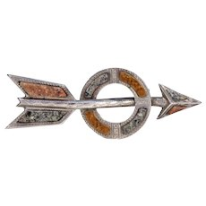 Antique Victorian Arrow and Circle Scottish Pebble Brooch Pin in Sterling Silver