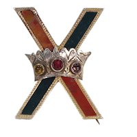 Victorian Scottish St. Andrews Cross Brooch Pin Rose Gold Agate