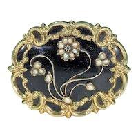 Georgian Black Enamel Pearl Diamond Memorial Brooch Pin in 15k Gold