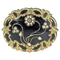 Georgian Black Enamel Pearl Diamond Memorial Brooch Pin in 15k Gold
