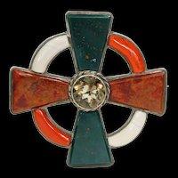 Victorian Scottish Pebble Brooch Pin Agate Bloodstone Silver