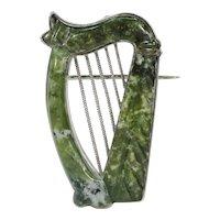 Large Antique Irish Connemara Marble Harp Brooch Pin Silver