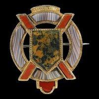 Victorian St. Andrews Cross Scottish Brooch Pin