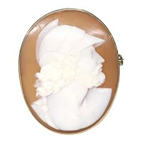 Victorian Cameo Brooch Roman Soldier Gold Frame
