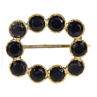 Georgian Gold Jet Mourning Brooch Pin