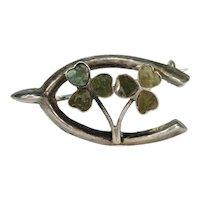 Lucky Horseshoe and Shamrock Brooch Pin Connemara Marble