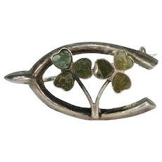 Lucky Horseshoe and Shamrock Brooch Pin Connemara Marble