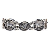 Antique Austrian Hunting Motif Bracelet Silver