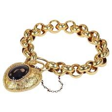 Spectacular Georgian Cabochon Garnet Snake Heart Padlock Bracelet 18k Gold
