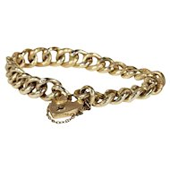 Antique Engraved Curb Link Bracelet in 9k Yellow Gold