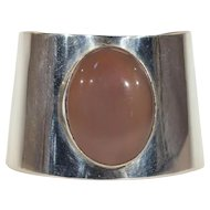 Stunning Large Vintage Sterling Silver and Agate Cuff Bracelet