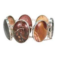 Striking Scottish Victorian Silver Fossil Bracelet