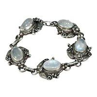 Arts and Crafts Era Moonstone Silver Bracelet