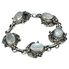 Arts and Crafts Era Moonstone Silver Bracelet