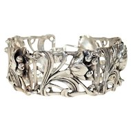 1950s Scandinavian Silver Floral Bracelet