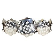 Vintage Mid-Century Modern Snowflake Bracelet, White Enamel on Silver, Danish