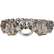 Antique Victorian Silver Double Lion Head Bracelet