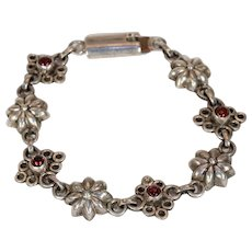 Vintage Silver Garnet Floral Bracelet