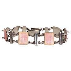 Vintage Pink Enamel Sterling Silver Bracelet by Volmer Bahner
