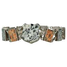 Edwardian Silver Granite Scottish Style Bracelet