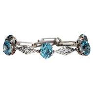 Antique Edwardian Blue Zircon Silver Bracelet